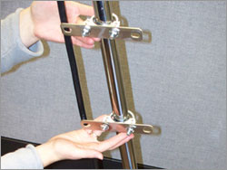 attach mounting brackets to u-bolts & handle